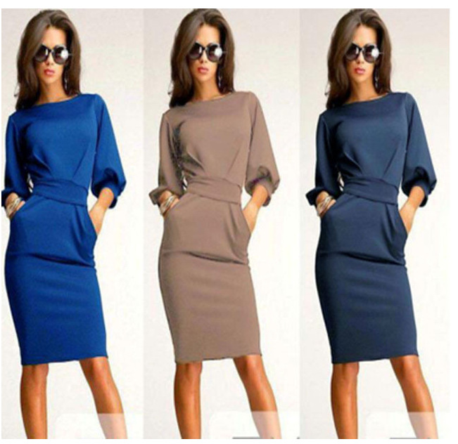 f3650f8a6689 Fall Dresses 2017 Fashion Women Office Autumn Vintage Casual Dress Elegant  Retro Long Sleeve Party Dresses-in Dresses from Women s Clothing on ...