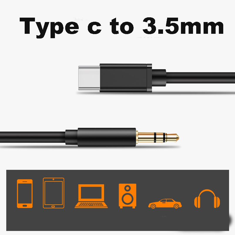 1M 3.5mm Car Stereo Type C Aux Cord Adapter Speaker Cable For Xiaomi Redmi K20 Pro Huawei USB Type-C Audio Headphone Adapter