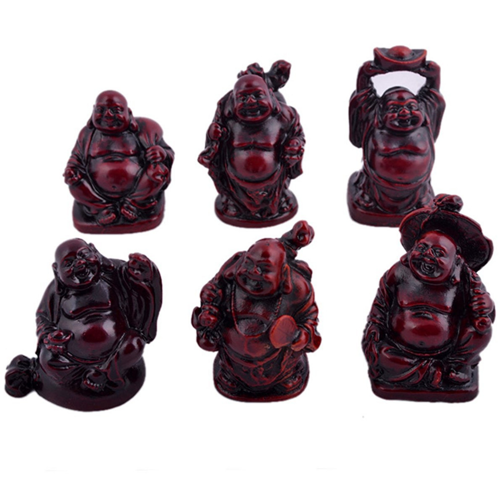 6 Small Buddha Figurines Feng Shui Resin Rosewood C1024