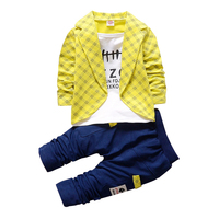 ZOETOPKID Baby Boy Clothing Set Brand Spring Autumn Plaid False 2pcs Outfit + Pants Baby Boy Clothes For 9 24M Infant Boys Suit