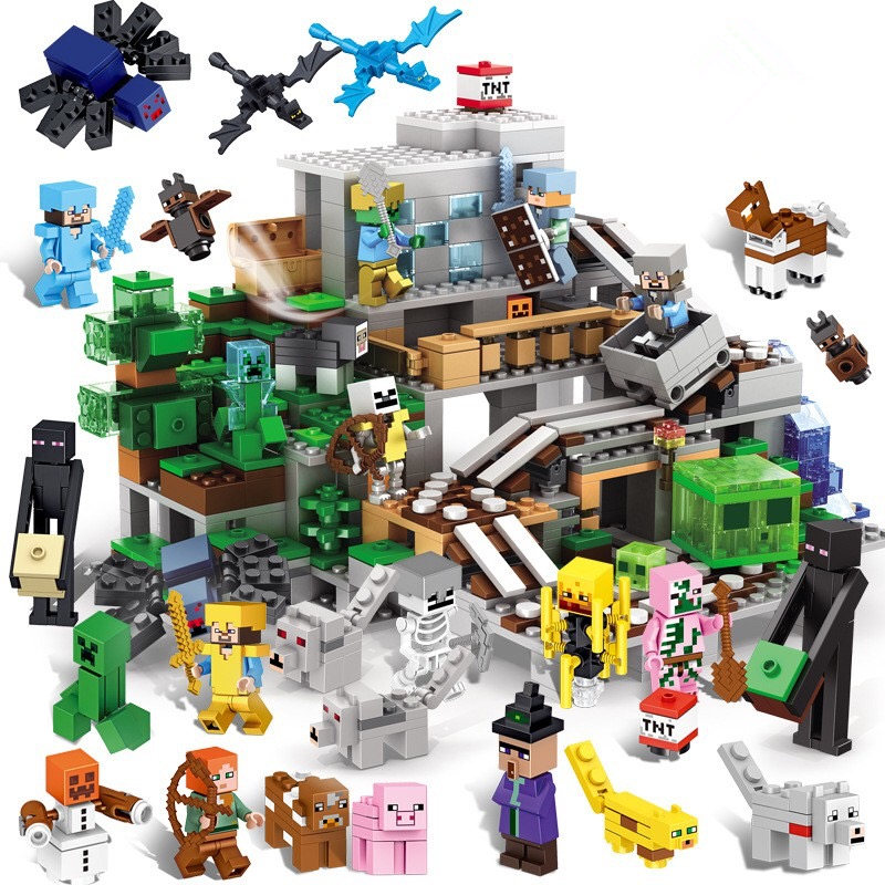 Minecrafted Manor Cave House My World model Education Building Blocks Bricks set Compatible Legoed city boy toy for children 771pcs 8in1 minecrafted manor estate house my world model building blocks bricks set compatible legoed city boy toy for children