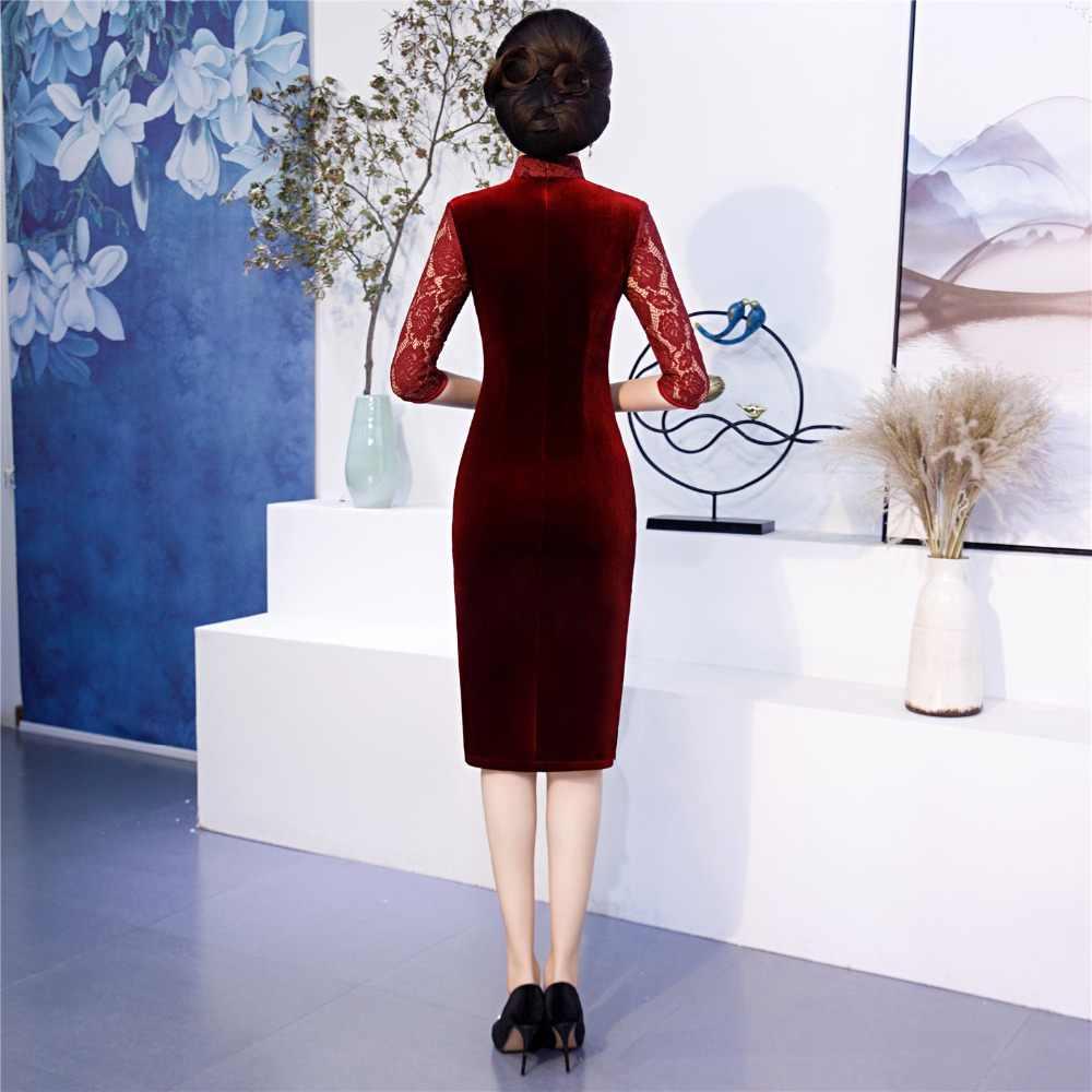 上海ストーリー刺繍ベルベット袍中国の伝統的なドレス中国女性の服膝丈チャイナ