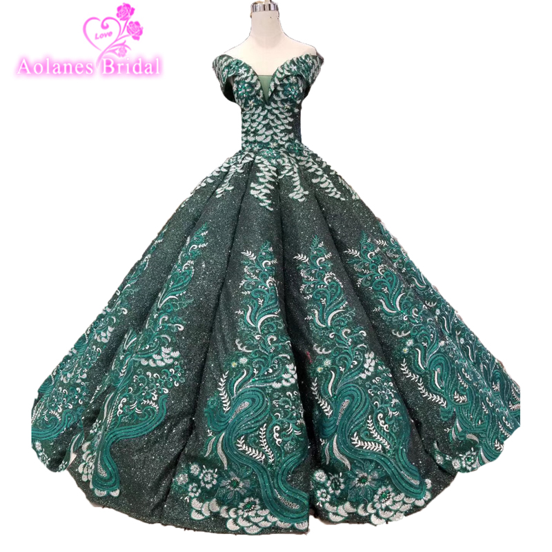 Lace Green Ball Gown Princess Prom Dresses 2019 Glitter Sequins Pageant Fashion Gowns For Women Long Formal Evening Dresses