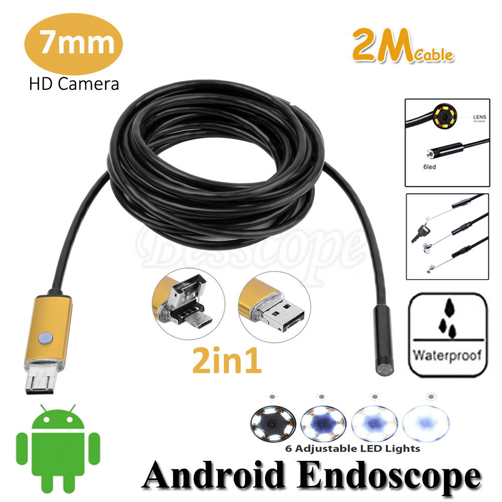 Black/Gold/Red 7mm Lens USB Android Endoscope Camera 2M Flexible Snake USB Tube Inspection Android Phone PC USB Borescope Camera 2018 newest 4 9mm lens medical endoscope camera for otg android phone pc usb borescope inspection otoscope camera for ear nose