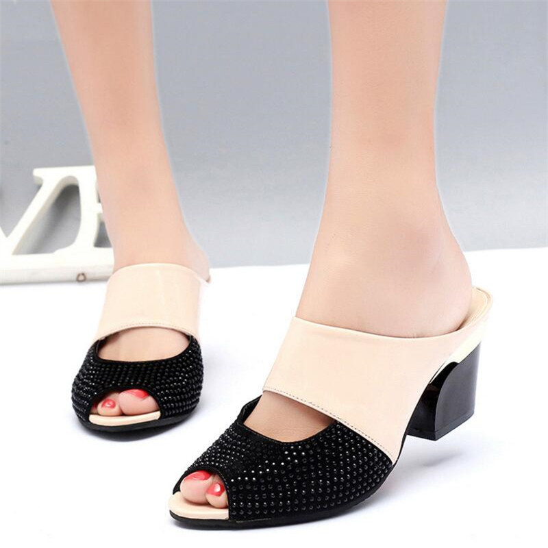 2018 female sandals and slippers female summer high heel fish mouth sandals drag thick with non slip drag with mother shoes in Middle Heels from Shoes