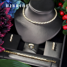 HIBRIDE musujące AAA CZ afryki naszyjnik zestaw kolczyków zestaw biżuterii dla kobiet akcesoria ślubne Dubai zestaw biżuterii ślubnej N-41 tanie tanio Moda Zestawy biżuterii Miedzi Naszyjnik kolczyki pierścień bransoletka TRENDY Kobiety Cyrkonia Zaręczyny 1 pcs Necklace+1 pair Earring+1 pcs Bracelet+1 pcs Ring