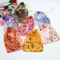 10x12cm Small Organza Bags Gold Thread Drawstring Party  Birthday Voile Bag Hot-stamping Rose Bag for Jewlery Necklace Storage