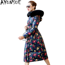 AYUNSUE Winter Jacket Women Parka 2017 Floarl Printed White Duck Down Jackets For Women Long Coat With Raccoon Fur Collar WYQ802