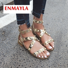 ENMAYLA 2019  New Arrival PU Gladiator Low Heel Sandals Casual Buckle Strap Solid Gold Sliver Women Shoes Size 34-43 LY2199