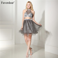 Favordear 2018 Two Pieces Sparkly Halter Sexy Vestidos Cortos Para Gray Short Dress for Party