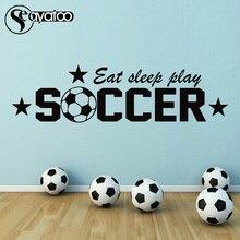 Soccer Eat Sleep Play Quote Word Vinyl Wall Decal Sticker Sport Boys Kids Room 40x150cm