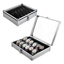 Watch storage box Aluminum Alloy Case Useful 6/12 Grid SlotsJewelry Watches Aluminium Display Storage Box