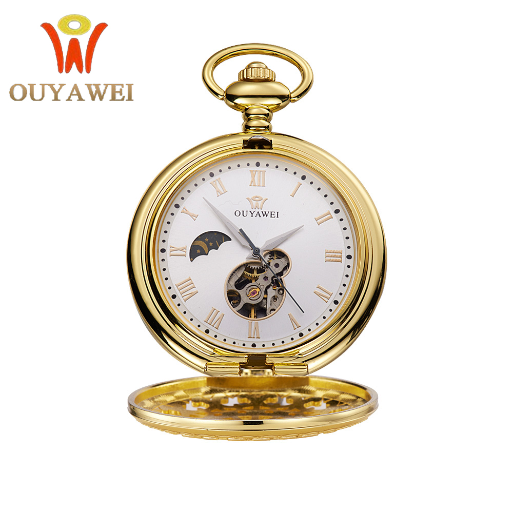 OUYAWEI Antique Design Skeleton Carving Case Moon Phase Dial Mechanical Hand-wind Unisex PockFob Watch