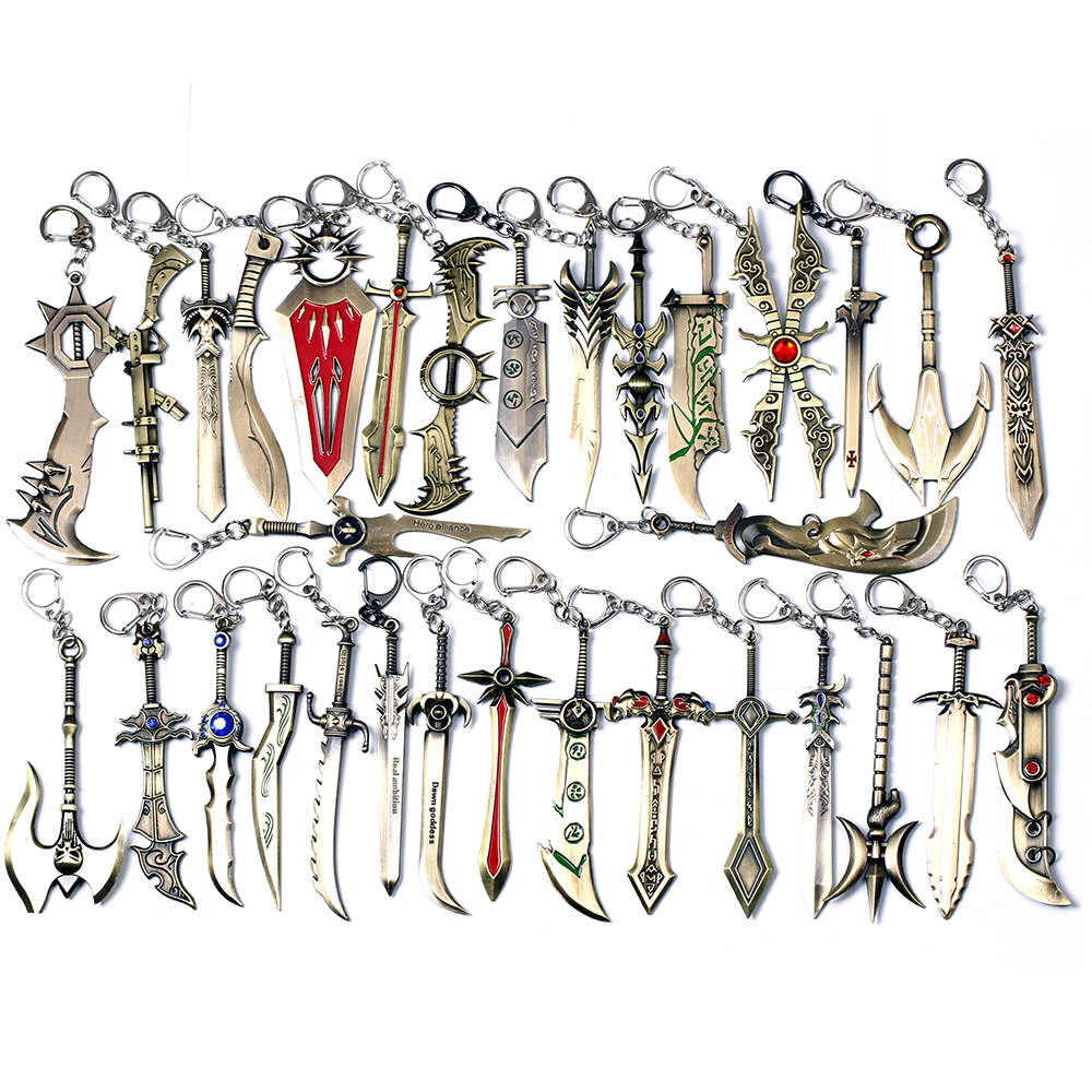 33 types Hero alliance keychain League of Legends weapons model 1