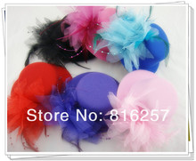 Free shipping 6 colorS high quality mini top fascinator hats/bridal hair accessoires Great as party hats FS59