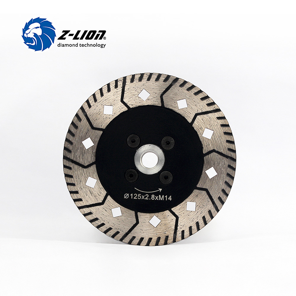 Z-LION 5 Inch Diamond Turbo Saw Blade 125mm Granite Stone Cutting Disc With Flange M14 5/8-11 Circular Saw Multi Tool