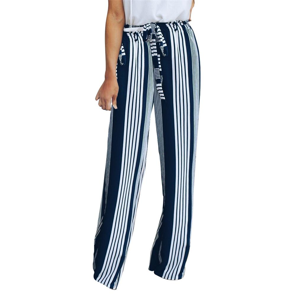 Women's High Waist Slim Flattering Thin Type Split Stripes Belt Casual Straight-leg Pants Wide Leg Pants Women
