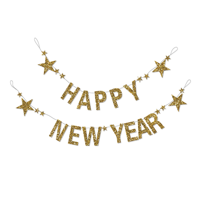 2018 happy new year decoration gold glitter sparkly banner with stars eve party letters cheers bunting