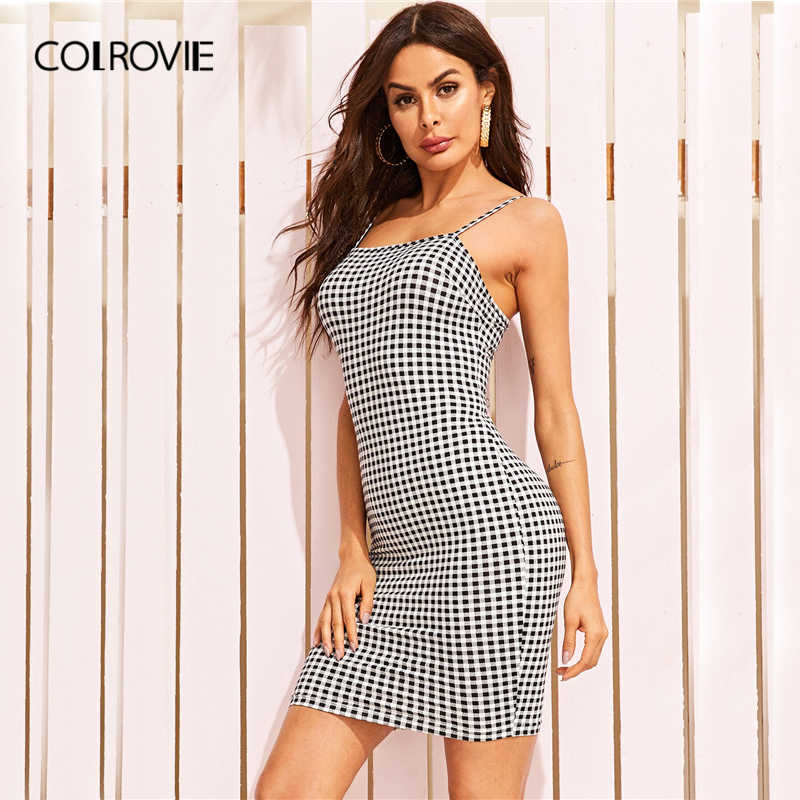 COLROVIE черно-белое облегающее платье с принтом в мелкую клетку, сексуальное женское платье 2019, летнее платье на бретельках, уличная Клубная мини-платье