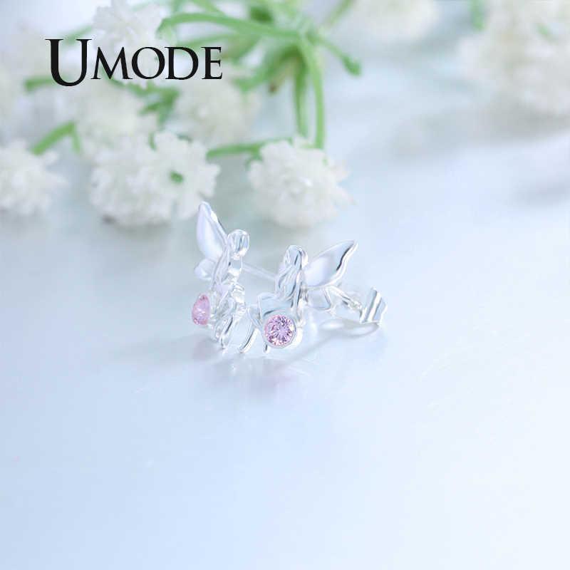 UMODE anioł Elf biżuteria ślubna zestaw anioł skrzydło Elf stadniny kolczyki anioł Elf kwiat pierścienie różowy kryształ biżuteria akcesoria US0077