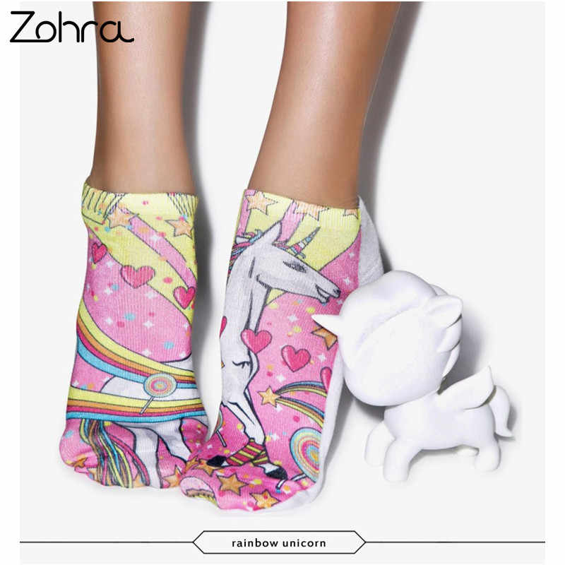 a870fbac6 Zohra Rainbow Unicorn 3D Graphic Full Printing Meias Women Socks Low Cut  Ankle Sock Cotton Hosiery