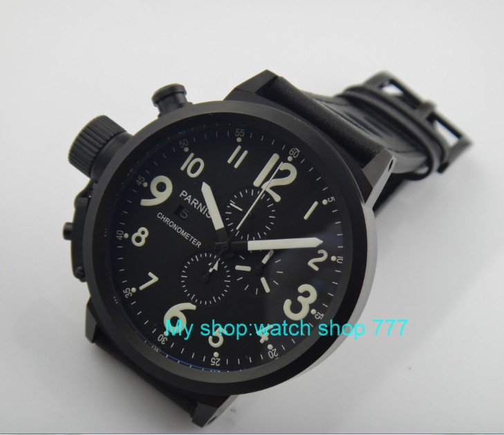 50mm PARNIS black dial Japanese quartz movement Chronograph multifunction men's watch Auto Date Quartz watches PVD case SY14 недорого