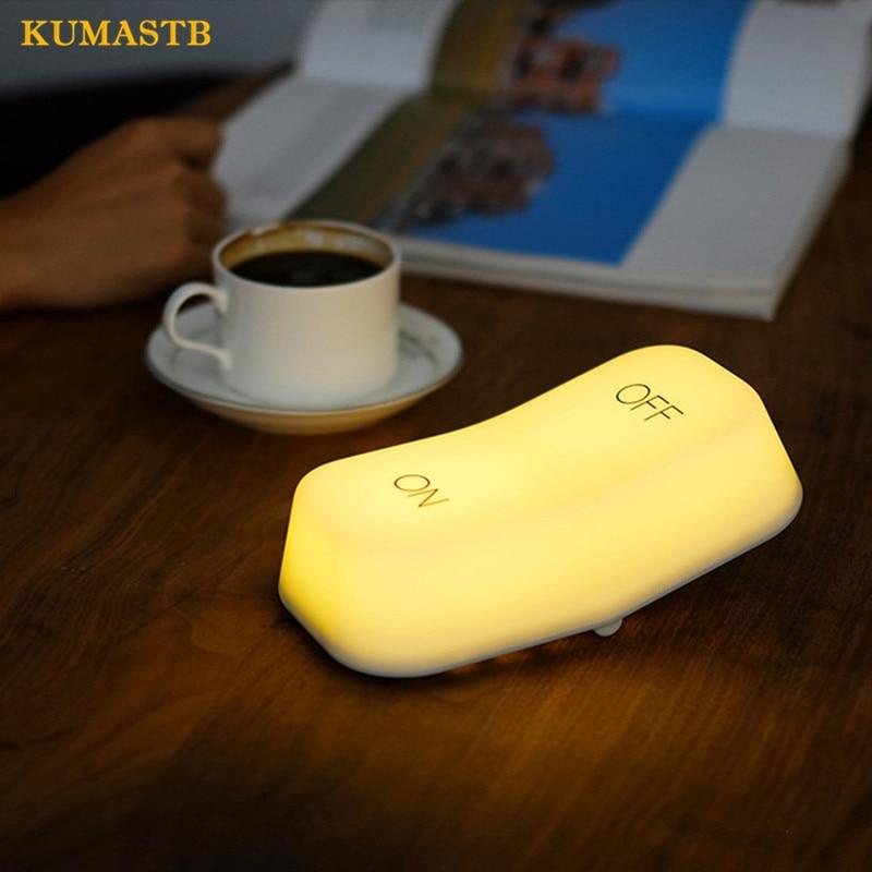White Small LED Night Light Bedside Table Lamp Plastic Keyboard Luminaria LED Baby Feeding Night Light Atmosphere Light KUMASTB