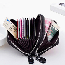Double zipper women men bank credit card holder protection cow genuine leather money bag  minimalist coin driver license wallet