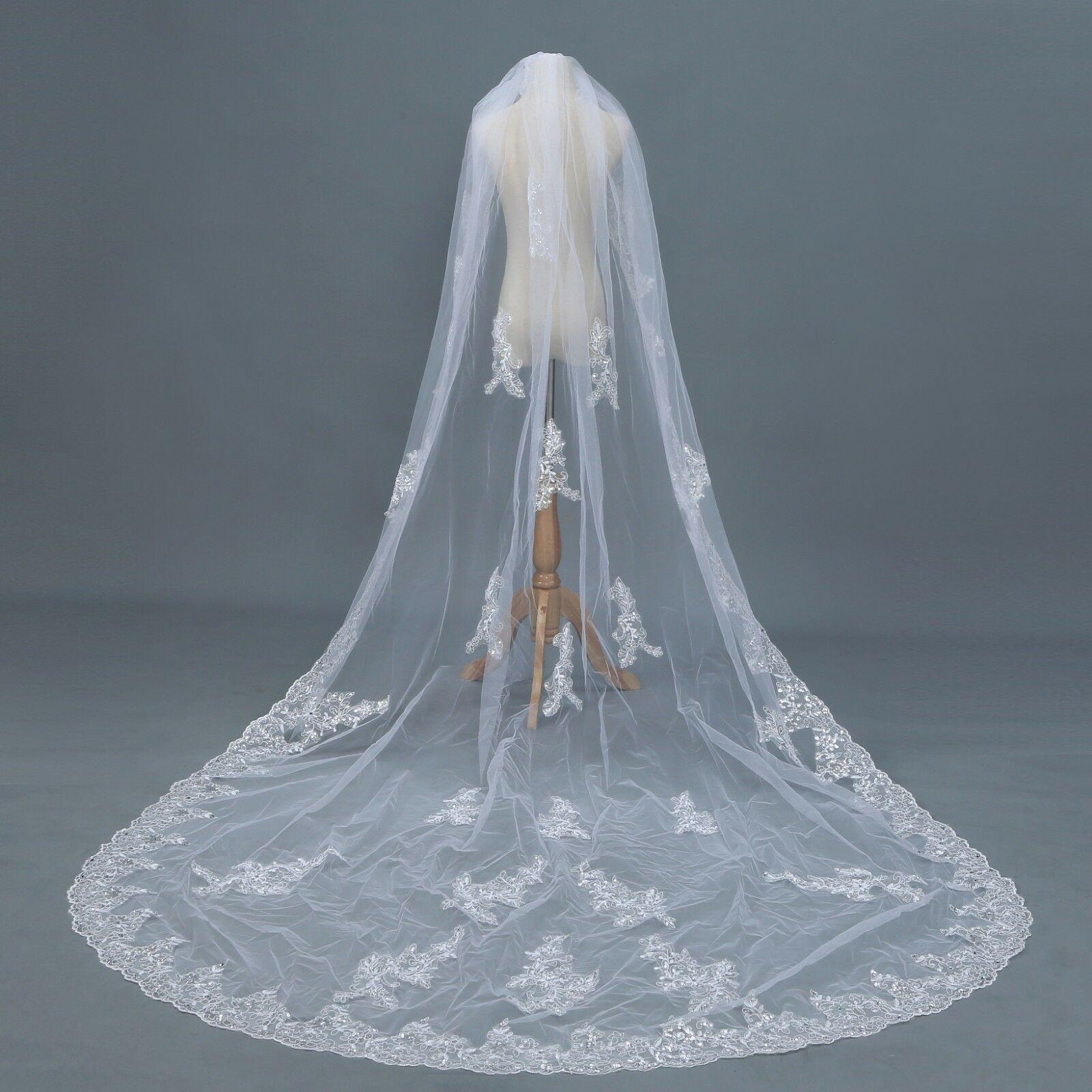 1 Schicht 3 M Kathedrale Länge Hochzeit Schleier Weiß Elfenbein Pailletten Spitze Rand & Applique Braut Schleier & Kamm