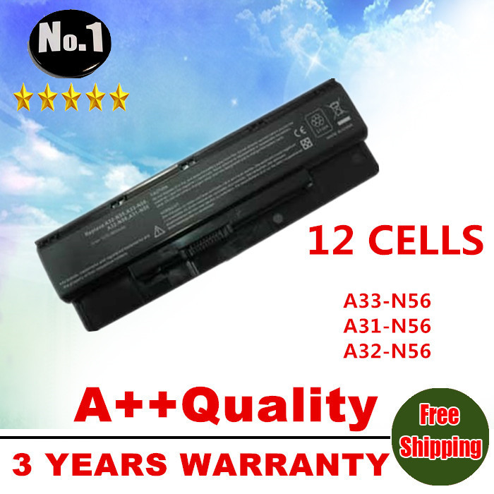 WHOLESALE New 12cells Laptop battery For asus N46 n46v N46VJ N56 N56D N56V N76 N76V A31-N56 A32-N56 A33-N56