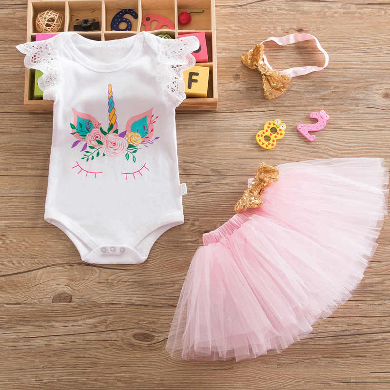 0045fab1 3K90 Unicorn Brithday 1 Year New Born Toddler Baby Girls Clothing Set, 3  Pcs: