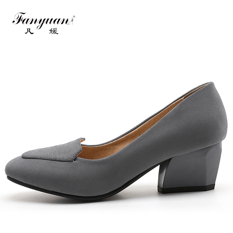 Fanyuan New Arrival Round Toe Med Thick heel Stylish women shoes Female Office Casual Breathable Slip-on Solid pumps Plus size stylish chiffon solid color plus size maxi skirt for women