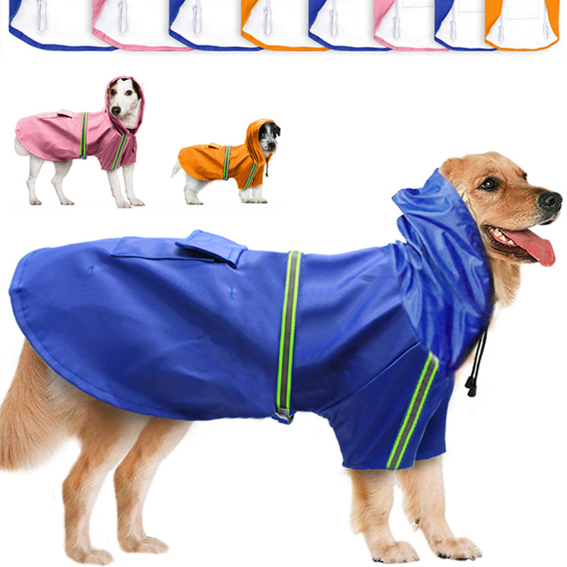 Dog Raincoat Reflective Waterproof Slicker For Small Large Dogs Clothes Pet Yellow Rain Coat Overalls Hooded Pets Clothing