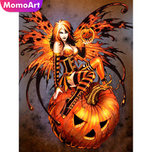 MomoArt Diamond Painting Lady Pumpkin Embroidery Full Square Rhinestone Mosaic Halloween Home Decoration