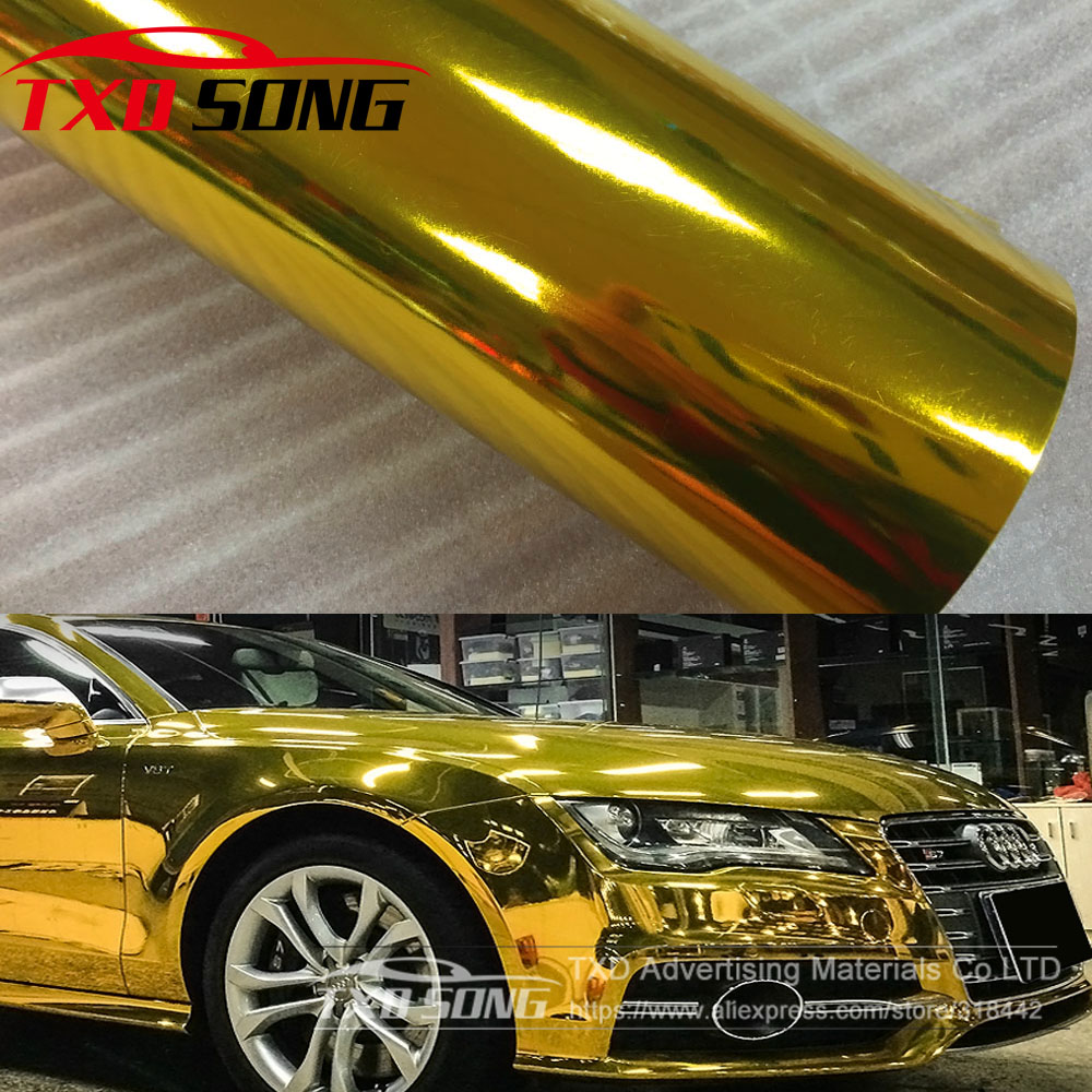 Premium High stretchable Waterproof UV Protected gold Chrome Mirror Vinyl Wrap Sheet Roll Film Car Sticker Decal Sheet-in Car Stickers from Automobiles & Motorcycles