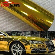 Premium Hoge rekbaar Waterdicht UV Beschermd gold Chrome Mirror Vinyl Wrap Sheet Roll Film Auto Sticker Decal Vel