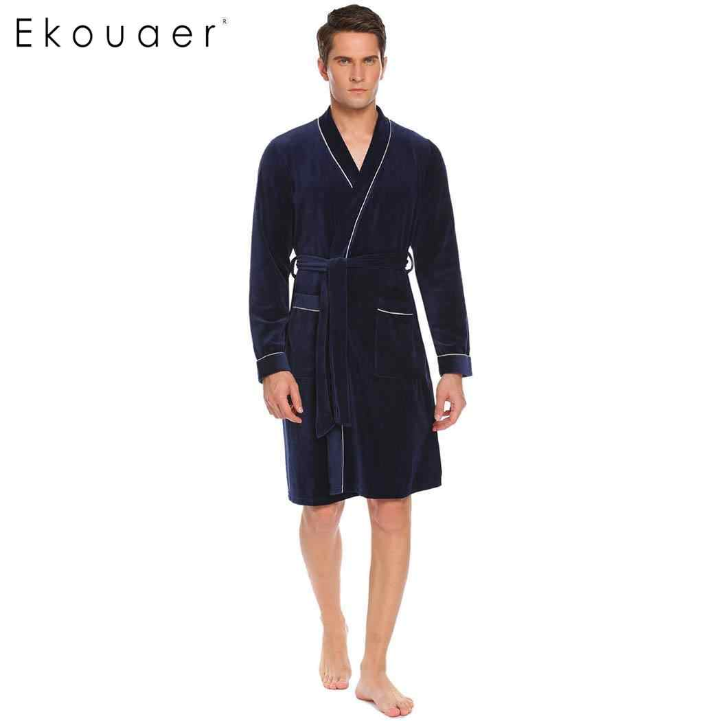 89b998fb14a Detail Feedback Questions about Ekouaer Men Soft Robe Dressing Gown  Nightwear Long Sleeve Patchwork Lace Up Wrap Kimono Bathrobe Spa Robes Male  Sleepwear ...