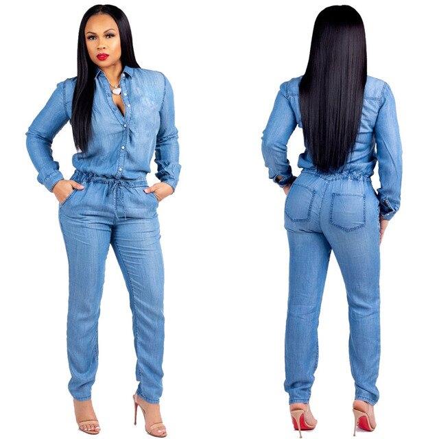 e45220dee75b YJSFG HOUSE Fashion Women s Jumpsuits Blue Denim Casual Long Sleeve Pencil  Pant Jeans Jumpsuit Romper Female Autumn Plus Suits