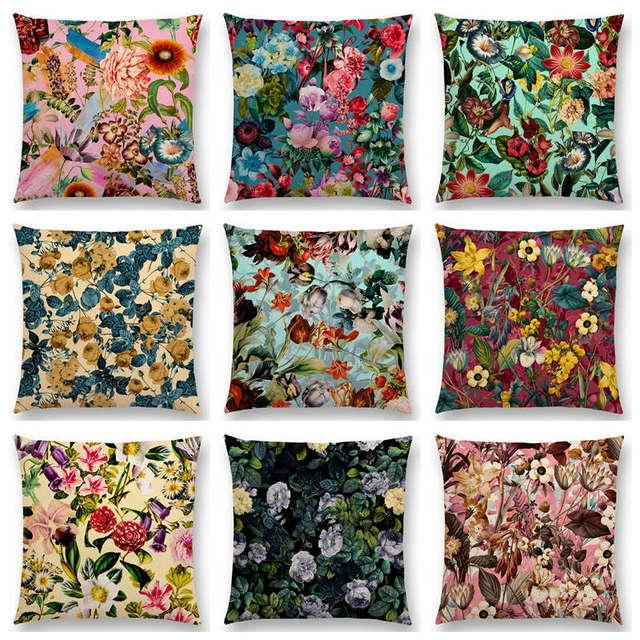 Egzotyczne Ogród Letni Naturalne Kwiaty Liść Botaniczny Dżungli Tropical Floral wzór Poszewka Wystrój Sofa Rzuć Poszewka Na poduszkę