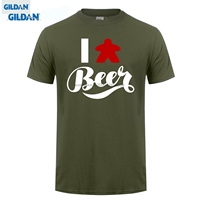 GILDAN Latest Men T Shirt Fashion I Love Beer Meeple Style T Shirt Tabletop Board Game