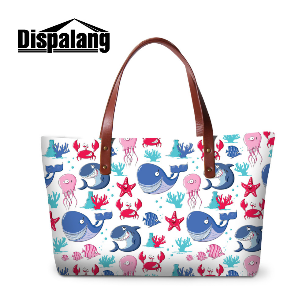 Dispalang Sea Animal Printed Womens Handbags Female Casual Beach Bags Large Capacity Ladies Shopping Bag Daily Use Hand Tote forudesigns casual women handbags peacock feather printed shopping bag large capacity ladies handbags vintage bolsa feminina page 6