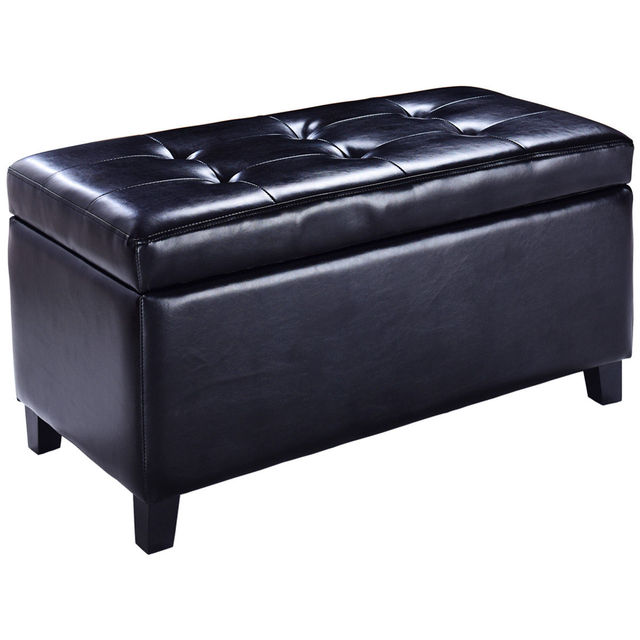 Giantex 32 Storage Ottoman Bench Living Room Footrest Footstool Faux Leather Seat Modern Sofa Organizer Box Hw56827bk