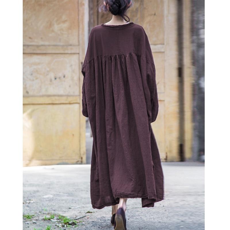 SCUWLINEN 2019 Women Autumn Dress Vintage Stand Collar Lantern Sleeve Plus Size Long Linen Dress Women Casual Robe B103001SXY-in Dresses from Women's Clothing    3