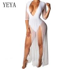 YEYA High Quality Transparent Mesh Maxi Dresses Women Sexy Deep V Neck Half Sleeve Split Dress Autumn Club Party