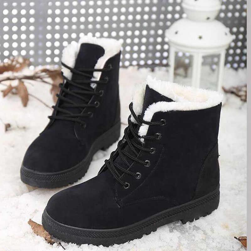 KARINLUNA Yeni Varış Sıcak Kar Botları 2019 Topuklu Kış Çizmeler Kadın Ayak Bileği çizmeler kadın ayakkabıları Sıcak Kürk Peluş Astarı Ayakkabı Kadın