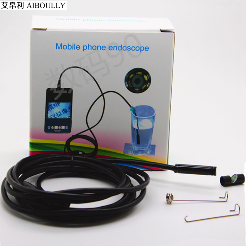 7mm mobile phone endoscope 2M pipeline maintenance waterproof camera gynecological diagnosis electronic magnifying glass 5 meters of android mobile phone computer dual hd waterproof industrial endoscope camera pipeline repair dental coil