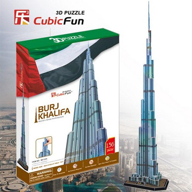 CubicFun 3D Puzzle paper model MC133H Diy Toy Burj KHALIFA tower Dubai children gift world's great architecture without LED 1set wat phra kaew cubicfun 3d educational puzzle paper
