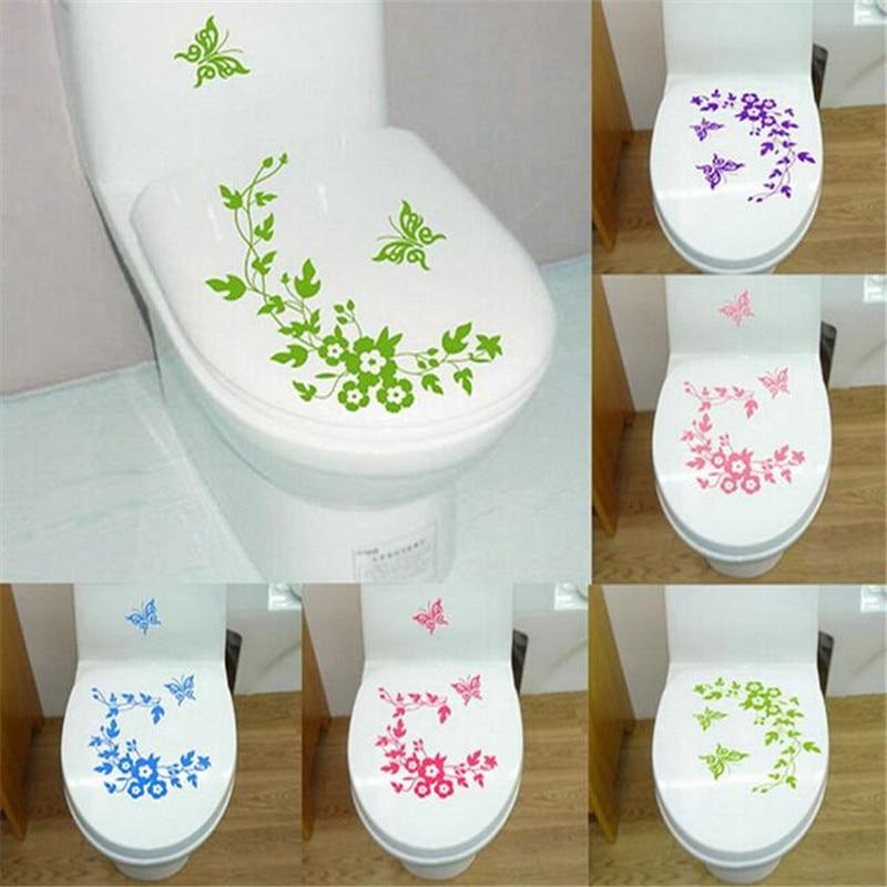 Flor de mariposa baño pegatinas de pared decoración para el hogar - Decoración del hogar