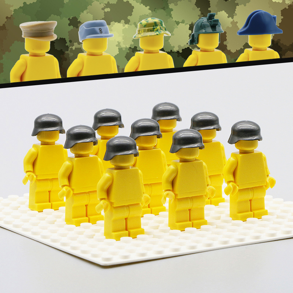 Military WW2 SWAT Soldiers Figure Accessory Army MOC Building Blocks Helmet Cap Hat Compatible Legoed Military Toys For Children 8 in 1 military ship building blocks toys for boys