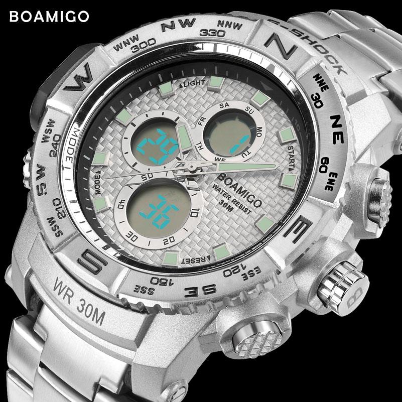Prix pour S-SHOCK hommes sport montre en acier LED montre numérique analogique quartz montre BOAMIGO marque chronographe horloge 30 M étanche reloj hombre